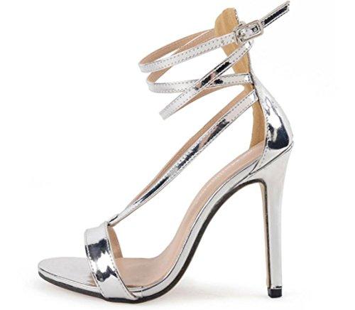 YCMDM Femmes Populaires Silver High Heel Cross Sandals Europe Et Etats-Unis Silver