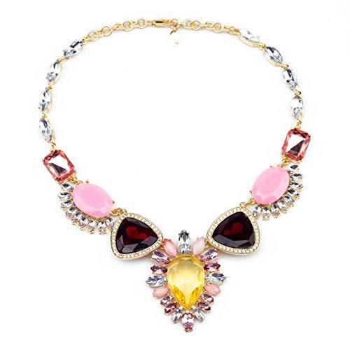 XZZZBXL Damenhalskette Erklärung Mode Frauen Mode Schmuck Dreieck Glas Anhänger Halskette -