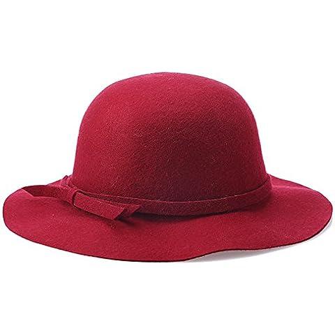 Ms onda cuchara Lana Sombrero sombreros de fieltro de lana para el otoño/invierno de simplicidad Hat pescador Hat Playa Piscina Hat,vino rojo