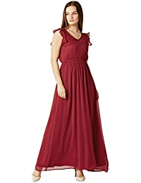 Miss Chase Women's Cherry Red Flared Maxi Dress