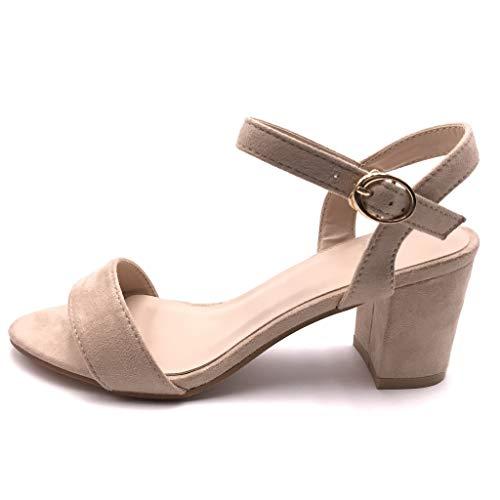 Angkorly - Damen Schuhe Sandalen Pumpe - kleine Fersen - Plateauschuhe - Offen - Basic - Basic - String Tanga Blockabsatz high Heel 6.5 cm - Beige FC-33 T 41 Toe Buckle High Heel