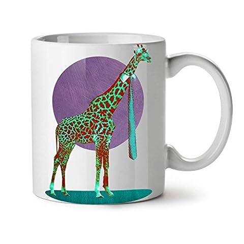 Giraffe Tie Animal Funny Business White Tea Coffee Ceramic Mug 11 oz | Wellcoda