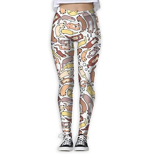 25bb5ecd7b048c QIAOJIE-High Waist Ultra Soft Lightweight Leggings, Funny Otter Pattern  Design Women's Slim Workout