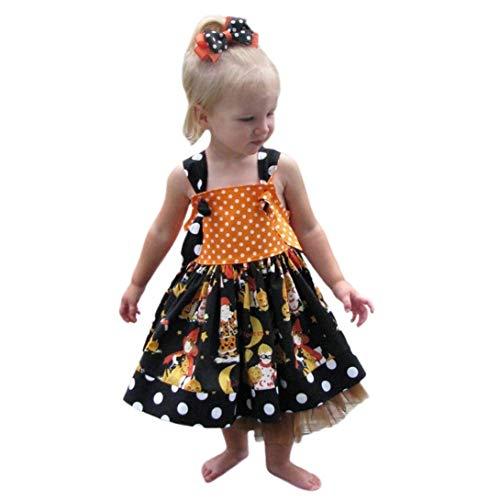 ZEZKT-Kinder Halloween Kürbis Tank Kleider   Mädchen Cartoon Prinzessin Kleid   1-4Jahre Baby Orange Sweet Prinzessin Ärmellos Festlich Festzug Party Wear