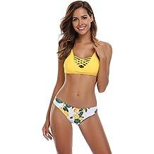 SHEKINI Damen Crossover Netz Gepolstert Bikini Set Zweiteilige Strandkleidung Bandeau Strandmode Blumen Druck Bikinihose