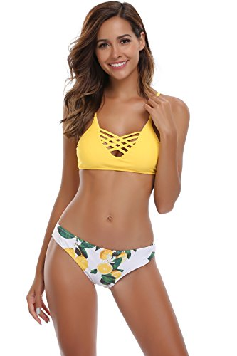 SHEKINI Damen Crossover Netz Gepolstert Bikini Set Zweiteilige Strandkleidung Bandeau Strandmode Blumen Druck Bikinihose (Large, Muster A: Gelb) -