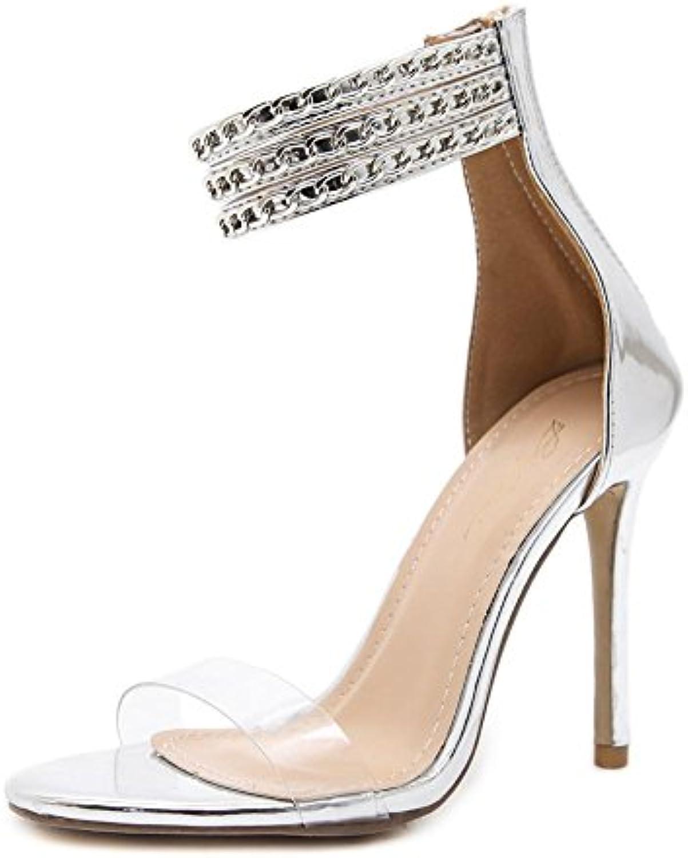 Donna Sexy sandali Stiletto alto Tacco Scarpe Sbirciare Dito del piede Trasparente Caviglia Cinghia Metallo Catena... | Conosciuto per la sua buona qualità  | Uomo/Donne Scarpa