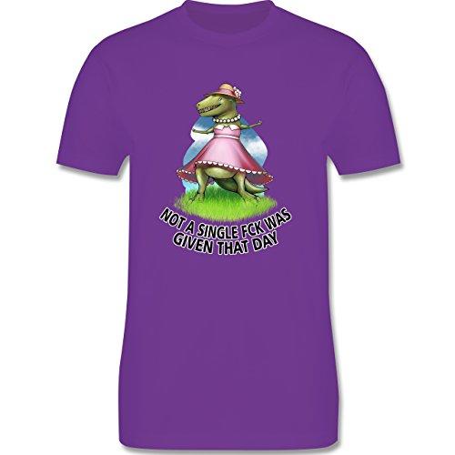 Statement Shirts - Not a single fck - T-Rex - Herren Premium T-Shirt Lila
