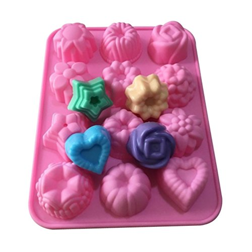 Allforhome 12 Cavities Flowers Silicone Hand made Soap Molds Ice Lattice Cake Candy Making Moulds Cake Pans Handmade DIY Chocolate Mold