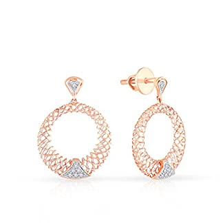 Malabar Gold and Diamonds 18KT Rose Gold and Diamond Stud Earrings for Women
