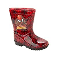 Boys Marvel Spiderman RED Wellies RAIN Boots Wellys Wellingtons UK Size 7-1