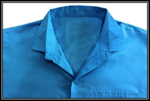 La Leela Strand Hawaiihemd Herren XS - 5XL Kurzarm Front-Tasche Hawaii-Print Casual Button Down Hemd Navy Blau Braun