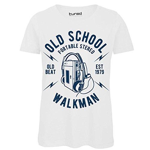 CHEMAGLIETTE! Shirt Divertente Donna Maglietta con Stampa Vintage Old School Walkman Tuned Bianco