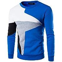 ♚ Camiseta de Manga Larga Hombre de Delgada Ocasional de los Hombres en Forma de Camisa O-Cuello Remiendo Blusa Superior Outwear Camisas de Hombre Blusa Tops Absolute