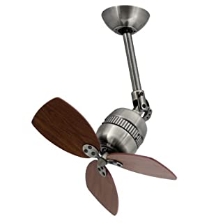 Innovativer ceiling fan TOLEDO, housing colour antique pewter, blade colour walnut