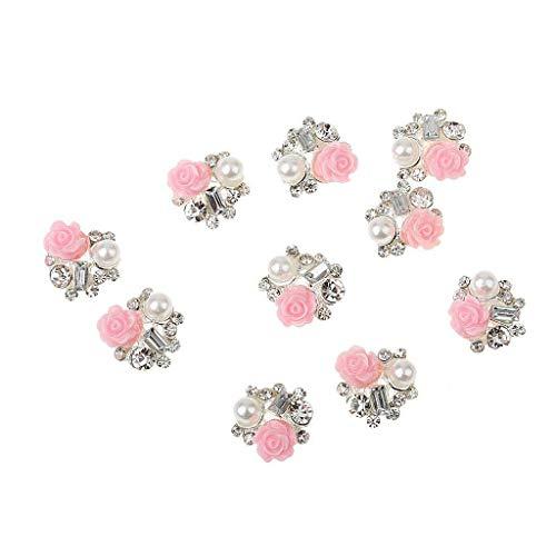 Xiton 10Pcs 3D Nail Diamant Fashion Style Rose Ongles Fleur Perles de Remplacement Nail Art décoration exquise Nail Art Accessoires