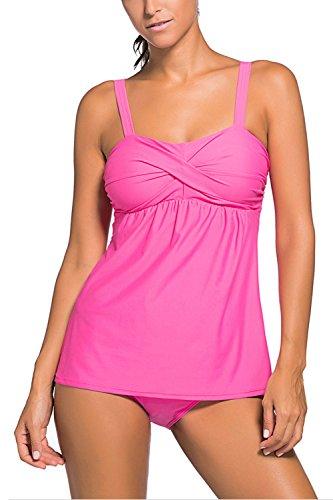 Minetom Bikini Damen Sommer Mode Zweiteilig Einfarbig Falten Badeanzug Bademode Tankini Two Piece Eleganter Gemütlich Rosa