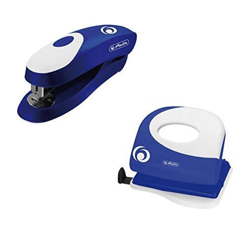 Büroset / Heftgerät 24/6 + Bürolocher mit Ansatzschiene / Farbe: blau