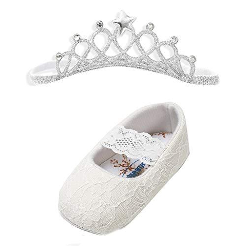 Babyschuhe Baby Mädchen Sommer Säugling Kleinkind Prinzessin Erste Wanderer Schuhe Heligen Baby Mädchen Spitze Schuhe mit Krone Hairband Cute Kleinkind erste Wanderer ()