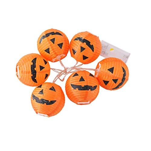 ring Lichter 6-LED Kürbis Lichterketten Batteriebetriebene Lichter für Halloween Outdoor Indoor Dekoration ()