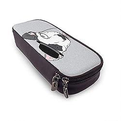 Bullterrier Leder Federmäppchen handgezeichnete Mode Portrait Tier Hund Monokel Gesicht cool Hut Krawatte kleine tragbare Reisetasche mit Reißverschluss