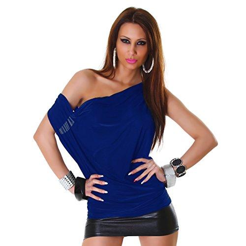 Damen Top Shirt Waserfall Bluse Ciffon Oberteil Stretch Elegant Sommer Party Blau
