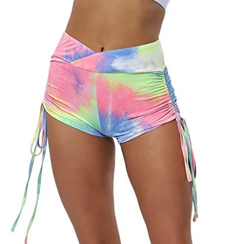ABsoar Damen Casual Print Plissee Leggings Frauen Sport Laufenhosen Yoga Athletic Short Pants Sommer Mehrfarbig Jogginghose -