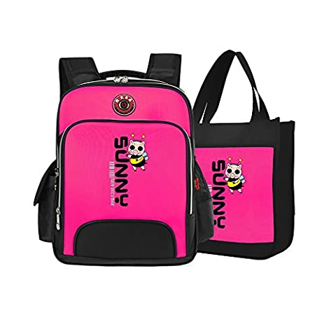 Primary Students School Bags, Kids Backpack and Book Handbag Set of 2 for Boys Girls (Pink)