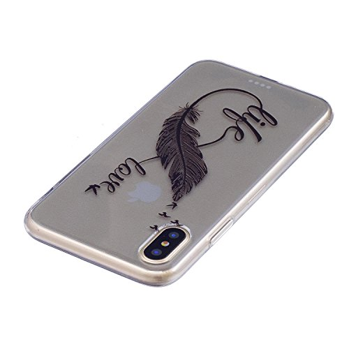 Ultradünne transparente Hülle für Apple iPhone X / iPhone 10 5.8 Zoll 2017 Hülle Schutzhülle Handy TPU Silikon Hülle Case Cover Durchsichtig Gel Tasche Bumper ( + Stöpsel Staubschutz) (14) 5