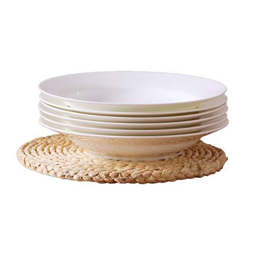 6 Pack Plate (LZK Pure White Teller Keramik Suppenteller Set Gericht Knochen China Deep Dish Haushalt 6 Pack Deep Plate Teller Teller Platte,Weiß,Zoll)