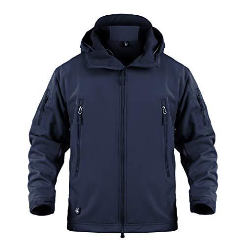 Memoryee uomo tattico camouflage softshell giacca outdoor militare pile fodera impermeabile antivento giubbotto con cappuccio/blu navy/l
