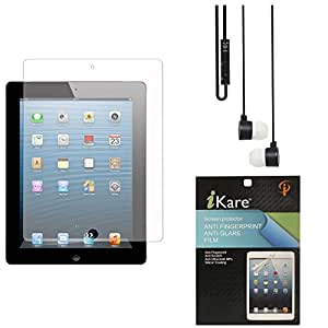 iKare Pack of 2 Anti-Glare Anti-Scratch Anti-Fingerprint Matte Screen Protector for Asus Google Nexus 7 (2013) + Black Stereo Earphone with Mic and Volume Control