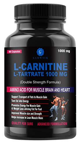Glowsik L-Carnitine L-Tartrate 1000 mg weight loss fat burner supplements – 90 capsules
