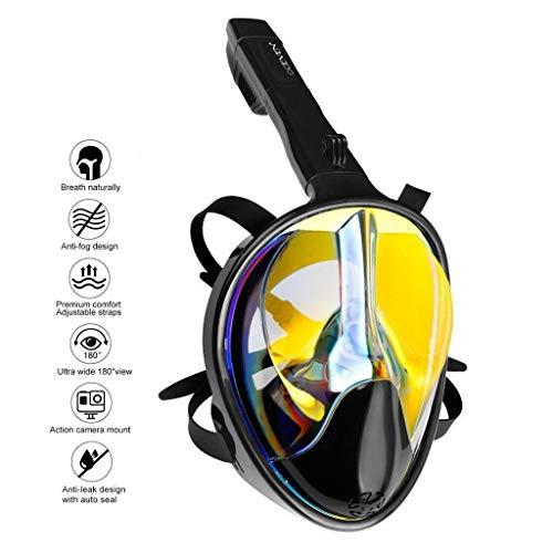 OCEVEN Tauchmaske, Easybreath Schnorchelmaske, Anti-Fog Anti-Leak 180° Sichtfeld Dichtung, aus Silikon Vollmaske, für Gopro Kamera Erwachsene - UV-Schutz (S/M, Schwarz-Gold)