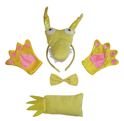 Petitebelle Gold Dragon Headband Bowtie Tail Gloves Costume Party for Adult (One (Halloween Drachen Lady Kostüm)