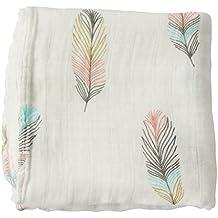 "LifeTree Bebé muselina swaddle manta - ""diseño de plumas"" bambú algodón bebé Swaddle Wrap, eructos Cloth & cochecito cubierta - Género neutro bebé chica o Baby Boy manta"