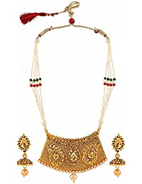 Archi Collection Traditional Gold Plated Multicolor And Pearl Ethnic Necklace Jewellery Set With Drop Earrings...
