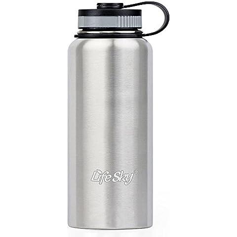 Botella LifeSky de agua para deportes de acero inoxidable - 950ml - Doble pared de aislamiento al vacío - Amplia boca, antifugas, mantiene el calor o el frío más de 12 horas - Perfecto para ciclismo, excursiones, camping y gimnasio.