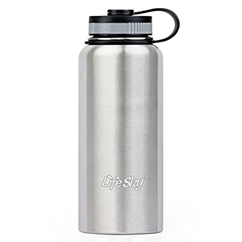 LifeSky Stainless Steel Sports Water Bottle - 950ml - Double-Wall Vacuum Insulation - Wide Mouth, (Trasferimento Termico Materiale)