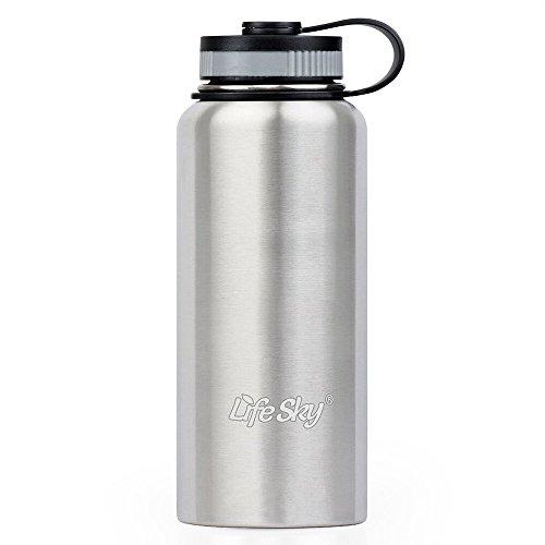 LifeSky Edelstahl Sport Wasser Flasche - 950 ml, Doppelwandige Vakuumisolierung, BIG MOUTH, auslaufsicher, Hot oder kalt halten mehr als 12 Stunden, perfekten für Fahrrad, Camping & Wandern, Gym (Doppelt Isolierte Thermoskanne)