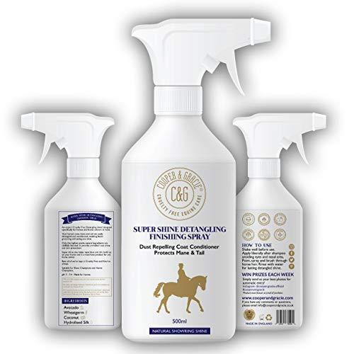 C&G Pets Super Shine Entwirrungsspray für Pferde, 500 ml, staubabweisend, natürliche Inhaltsstoffe, schützt Mähnenschwanz, natürlicher Glanz, schnelle Fellpflege, Entwirrung und Hautpflege.