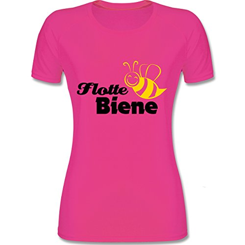 Shirtracer Laufsport - Flotte Biene - M - Fuchsia - F355 - atmungsaktives Funktionsshirt für Damen (Spaß Crossfit Shirts)