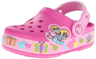 Crocs CrocsLights Butterfly, Girls' Clogs, Pink (Neon Magenta/Carnation), 1 UK