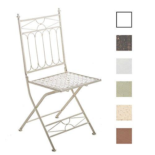 CLP Eisen-Klappstuhl ASINA Design I Klappbarer Gartenstuhl mit edlen Verzierungen I erhältlich Antik Creme