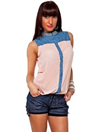24brands Damen Chiffon-Look Bluse - 2113