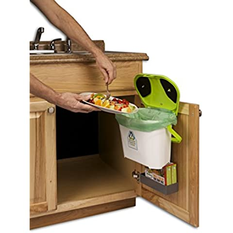 Kitchen Compost Caddy under sink mounted compost system with compost bag storage by Kitchen Compost Caddy