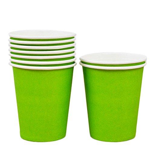 10X Toruiwa Einwegbecher Pappbecher Trinkbecher Becher Papierbecher Einweg Papier für Hochzeit Party Getränke Snacks Heiß Kaltgetränke 250ml (Hellgrün)