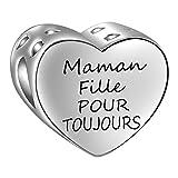 SIMPORDS Charm Mère Femme Gravé Cœur Cadeau pour Maman ou Fille