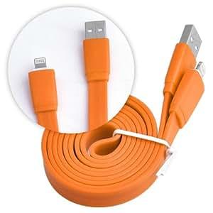 iPhone 5S , 5 & 5C Ladekabel USB Kabel Datenkabel flach orange
