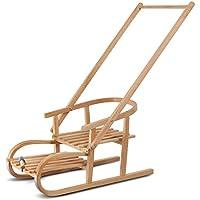 Trineo trineos de madera de roble con asiento y mango para empujar